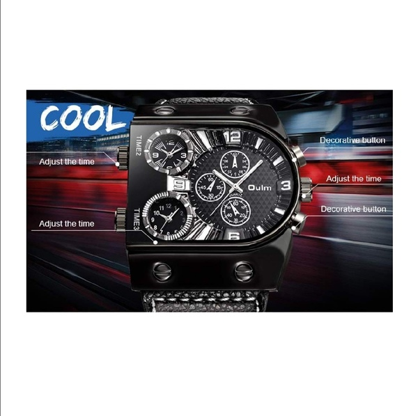 Used OULM Men Three Time Zones Leather watch in Dubai, UAE