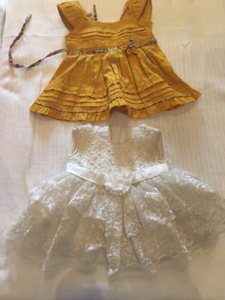 Used 2 frock for baby girl 0 to 6 month  in Dubai, UAE