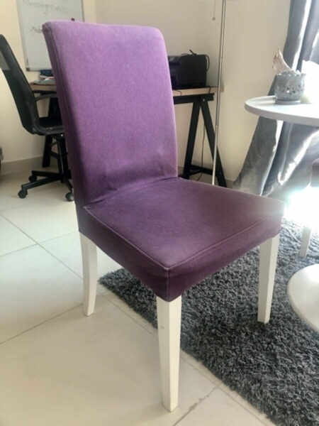 Used Round table and four purple chairs in Dubai, UAE