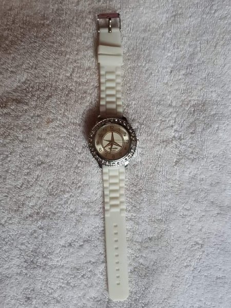 White Mercedes Benz watch