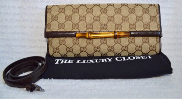 Used Authentic Gucci bamboo clutch like new in Dubai, UAE