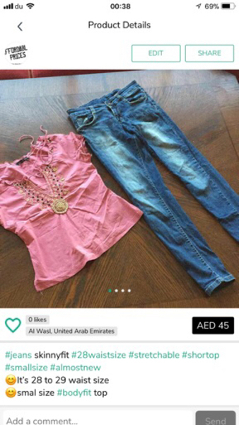"""Used Skinnny fit 28""""waist jeans with new top  in Dubai, UAE"""