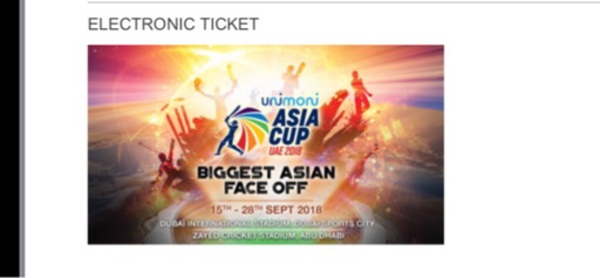Used Asia cup ticket for 23rd Sept in Dubai, UAE