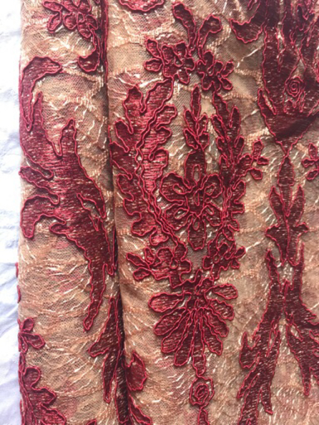 Used Embroidered Rich Fabric - Maroon in Dubai, UAE