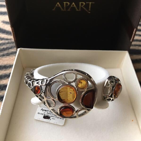 """Used Amber """"APART"""" Bracelet And Dragonfly brooch in Dubai, UAE"""