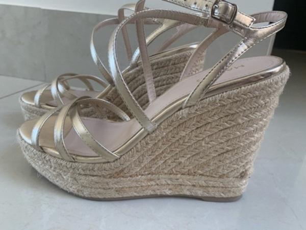 Used Mango wedges in gold in Dubai, UAE