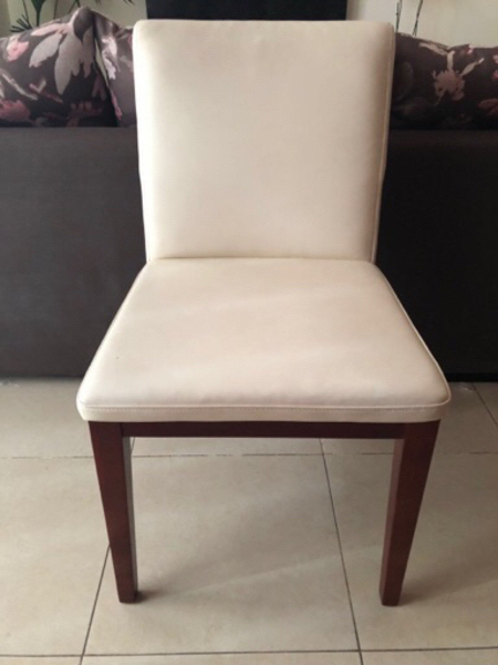 Used Solid word table with leather chair in Dubai, UAE