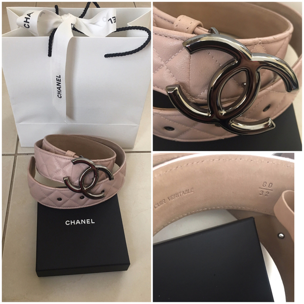 Used Preloved Chanel Leather Woman Belt, Size 80/32 Shiny CC Buckle and Lavender color in Dubai, UAE