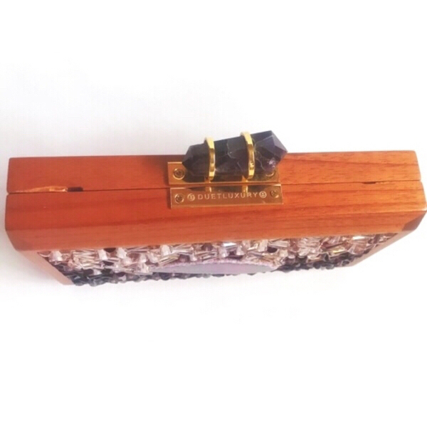 Used Semi-precious Stones Wood Clutch in Dubai, UAE