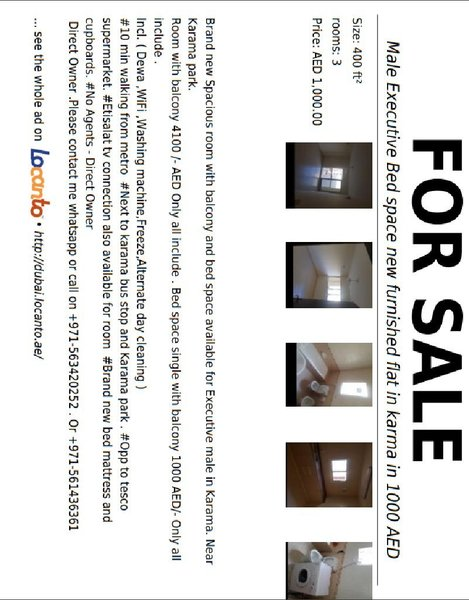 Used Bed space Al karama @1000 AED only in Dubai, UAE