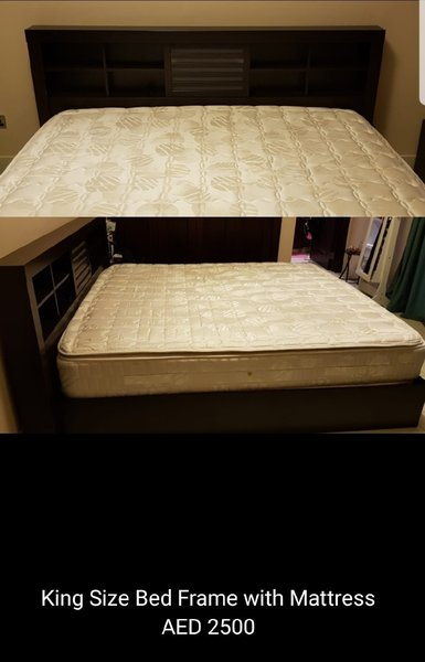 Used King Size Bed w High Quality Matress in Dubai, UAE