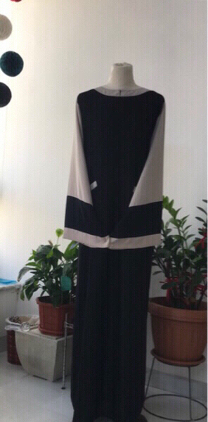 Used Cream/ Black Abaya/ 60 in Dubai, UAE