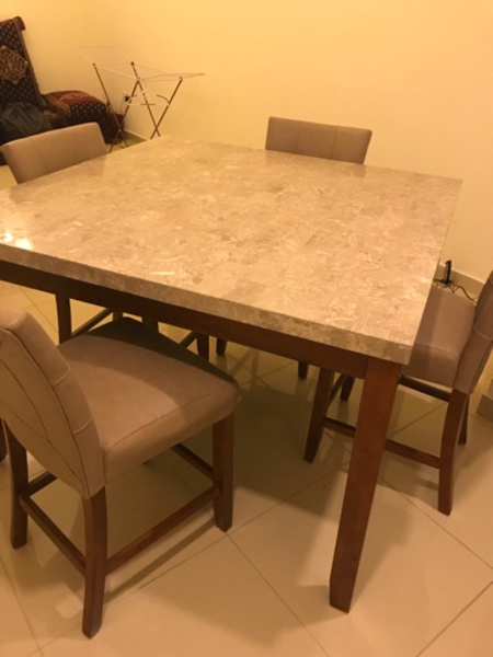 Used Like New marble kitchen table +8 chairs in Dubai, UAE