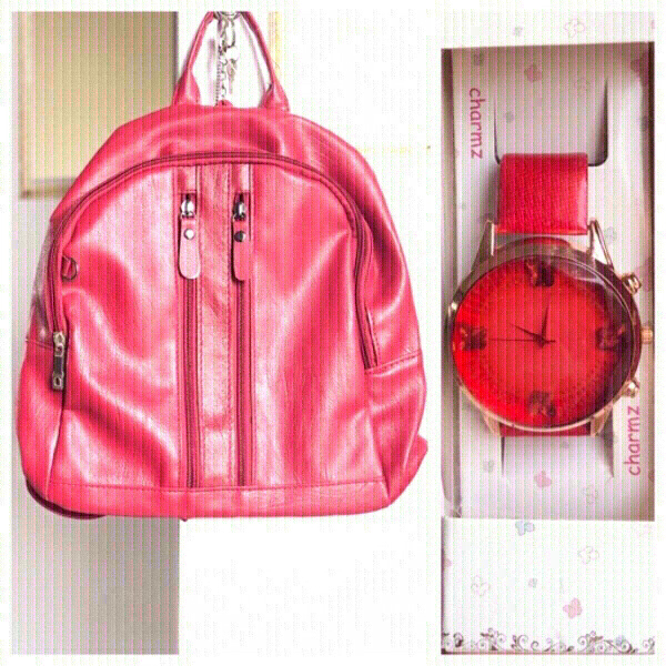 Used New Red bagpack +💥free charmz watch 🎁 in Dubai, UAE