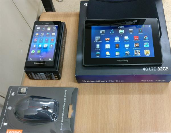 Used Open Box Blackberry Z3 And Blackberry Playbook 32Gb Including All Accessories & Lenovo Mouse   in Dubai, UAE