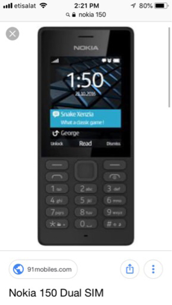 Used Nokia mobile150 in Dubai, UAE