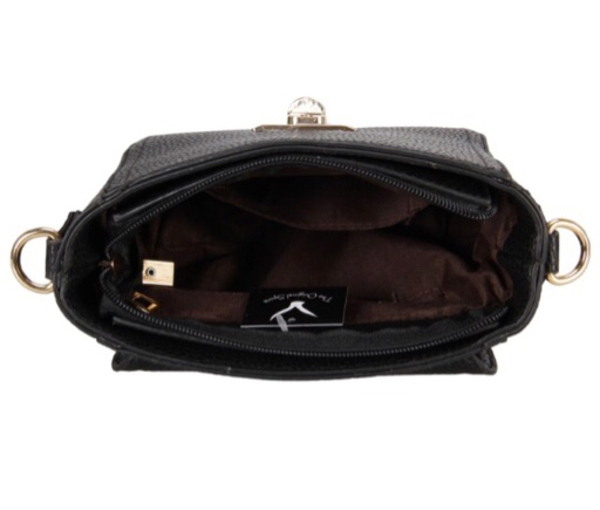 Used Brand new black bag with zipper and flap in Dubai, UAE