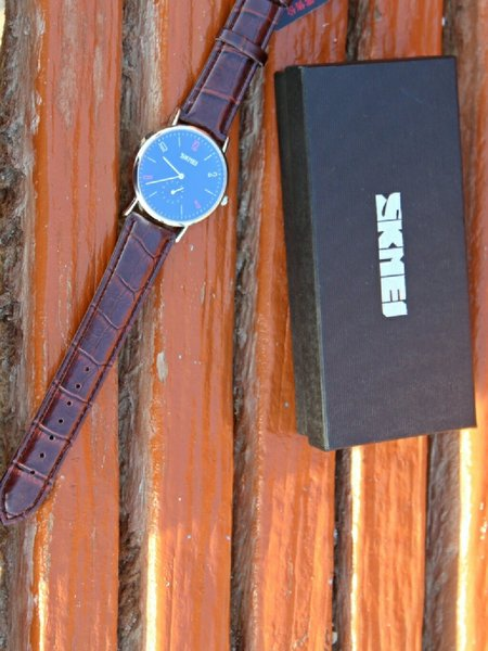 Used {Both dial Works}SKMEI Leather Watch in Dubai, UAE
