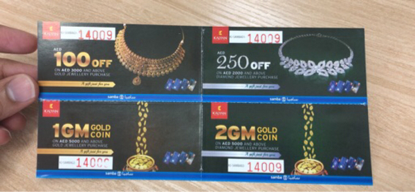 Used Kalyan Jewellers vouchers worth aed 350+ in Dubai, UAE