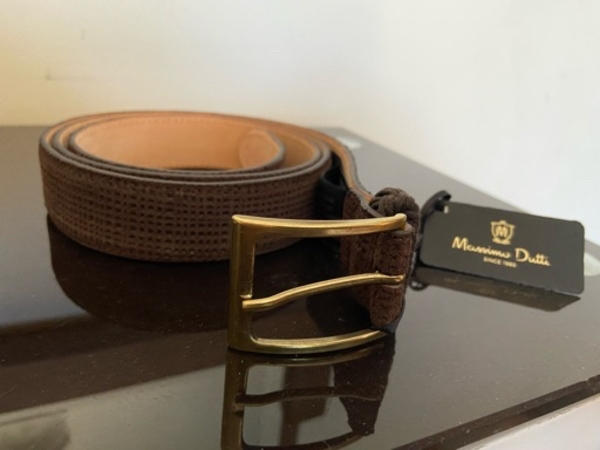 Used Massimo dutti brown suede textured belt in Dubai, UAE