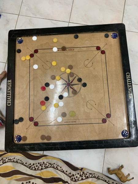 Used Carrom board game with dice in Dubai, UAE