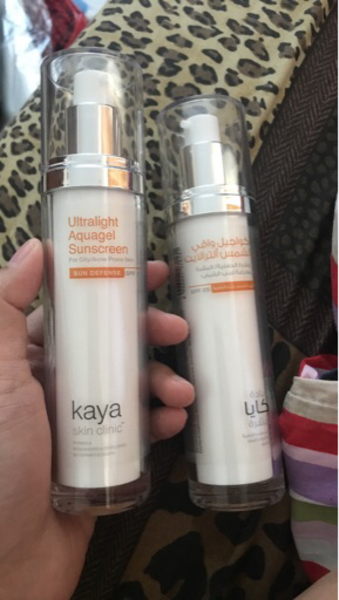 Used Kaya clinic ultralight aquagel sunscreen in Dubai, UAE