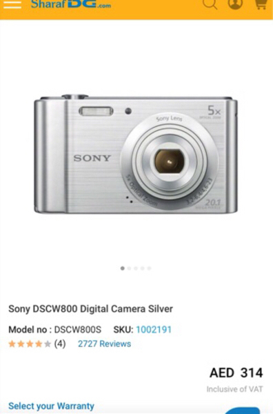 Used Original Sony Cyber-shot DSC-W800 in Dubai, UAE