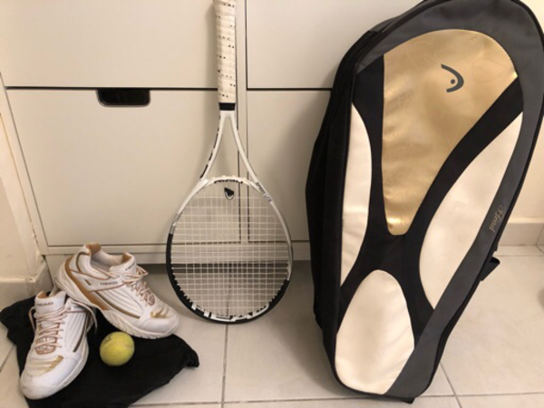 Used Head tennis racket with bag and shoes in Dubai, UAE