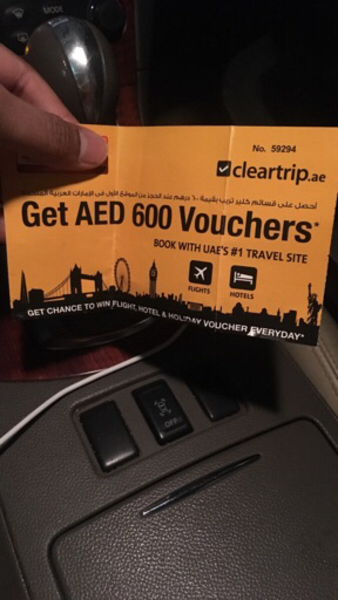 Used Cleartrip voucher of Aed600 in Dubai, UAE