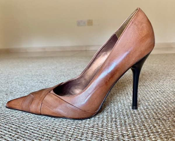 Used Brown Leather High Heels Shoes in Dubai, UAE
