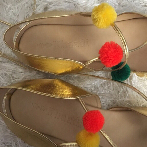 Used KHAADI pompom sandals (size 39) in Dubai, UAE