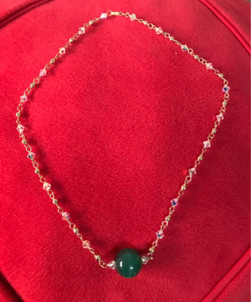 Used Jade with 10k and Swarovski necklace  in Dubai, UAE