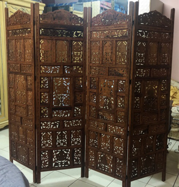 Used 4 folding wooden partition with carving in Dubai, UAE