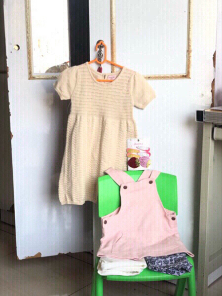 Used New noa dress,pink top,shorts &hairclips in Dubai, UAE