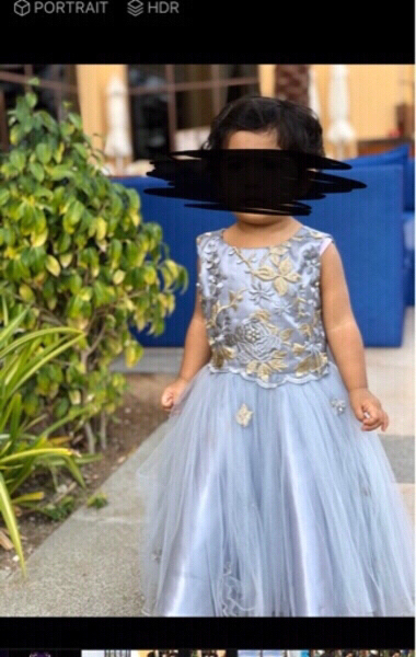 Used Grey golden flower lace fluffy gown💥👧 in Dubai, UAE