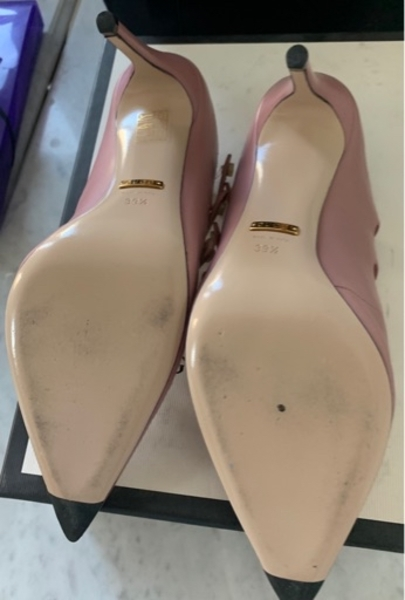 Used Gucci pink heel shoes size 39.5 in Dubai, UAE