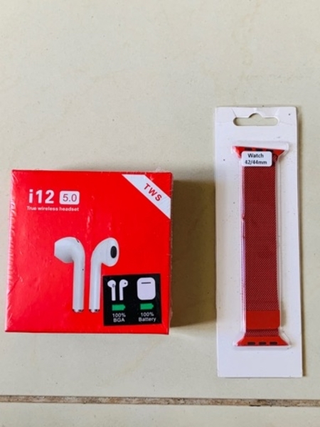 Used I12 wireless airpods with 42 mm strap in Dubai, UAE