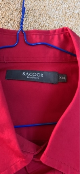 Used Sacoor XXL shirt red worn once only in Dubai, UAE