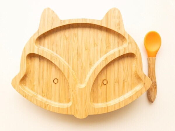 Used Bamboo plate Fox shape includes spoon in Dubai, UAE