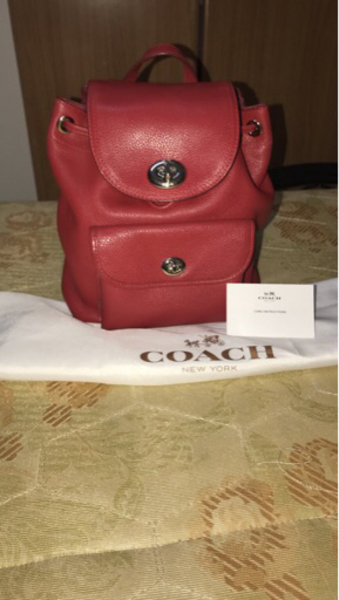 Used Coach BackPack Bag Red Authentic Leather in Dubai, UAE