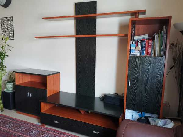 Used TV  wall stand with cupboards in Dubai, UAE