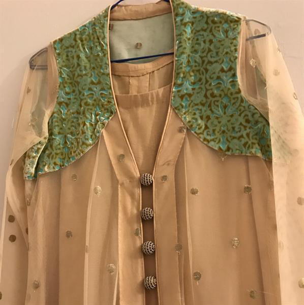 Used Brand New #Designer#Dress In #Gold#Beige & #Turqoise. Fabric Is High Quality Net & The Inner Is Gold Beige.  in Dubai, UAE