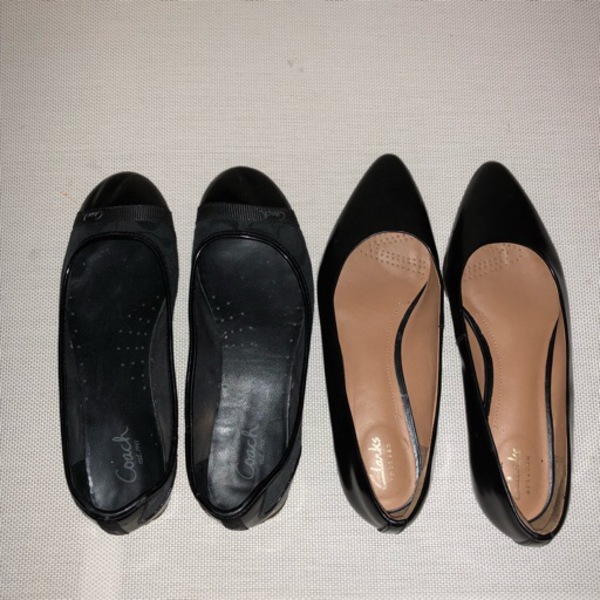 Used bundle of two black flats/office shoes in Dubai, UAE