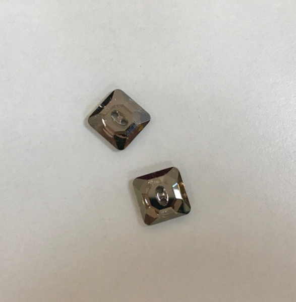 Eight Swarovski 14MM Square Buttons