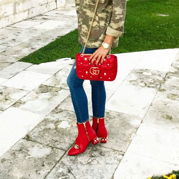 Used RED GUCCI BOOTS WITH HANDBAG in Dubai, UAE
