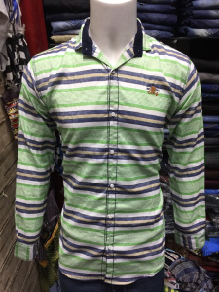Used Horizontal Stripes Shirt (Green) in Dubai, UAE