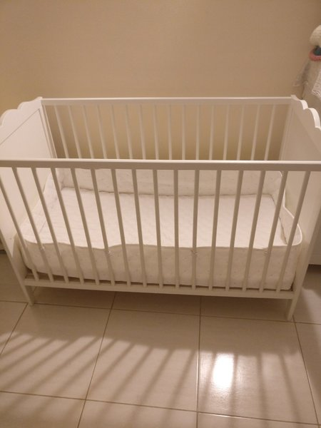 Used Ikea Baby Cot+ bed+ bumper protection in Dubai, UAE
