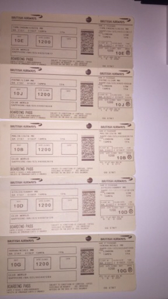 Used Authentic 1D band boarding passes ( 5)  in Dubai, UAE