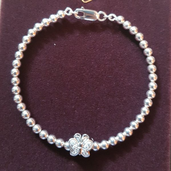 Used Beaded real silver bangle with 1 charm in Dubai, UAE
