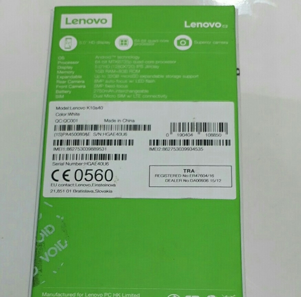 Used Lenovo C2 smart. Just One Day Used. With New Accosories. Box, 8mp Cam, with Axiom Wty, 11 Ms.  in Dubai, UAE